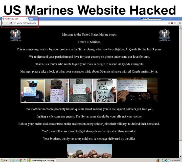 marines site hacked