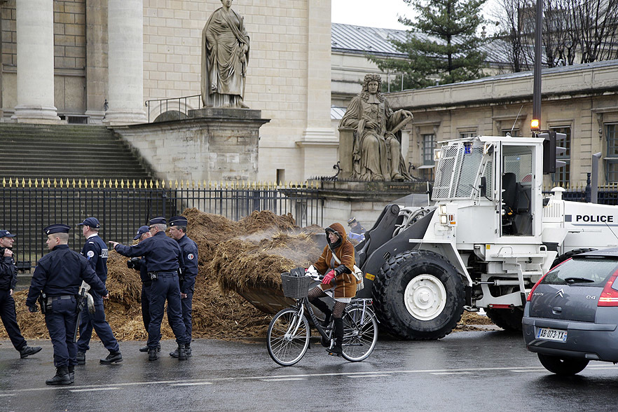A woman rides a bicycle past French police as a large pile of manure is removed in front of the National Assembly in Paris