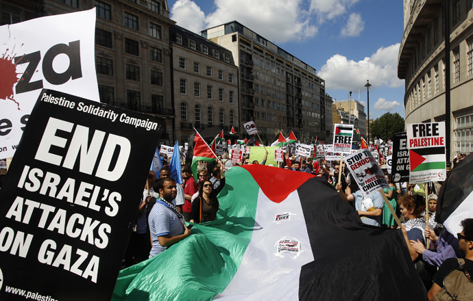 Demonstrators march to support the people of Gaza, in central London