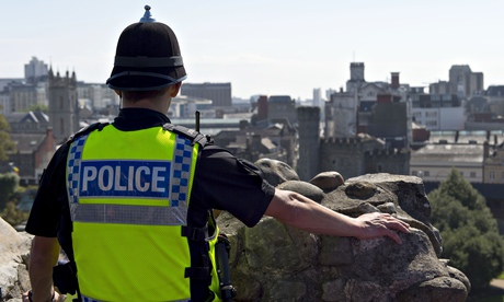 A police officer at Cardiff Castle as Wales prepares to host the Nato summit. Photograph: Matthew Horwood/Getty Images