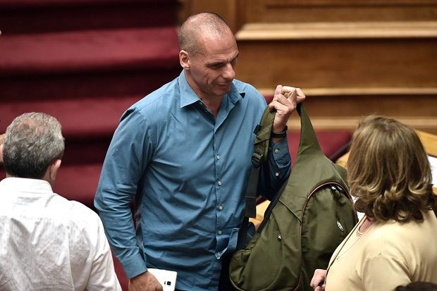 Former Greek Finance Minister Yanis Varoufakis leaving tonight's session. Photograph: Aris Messinis/AFP/Getty Images