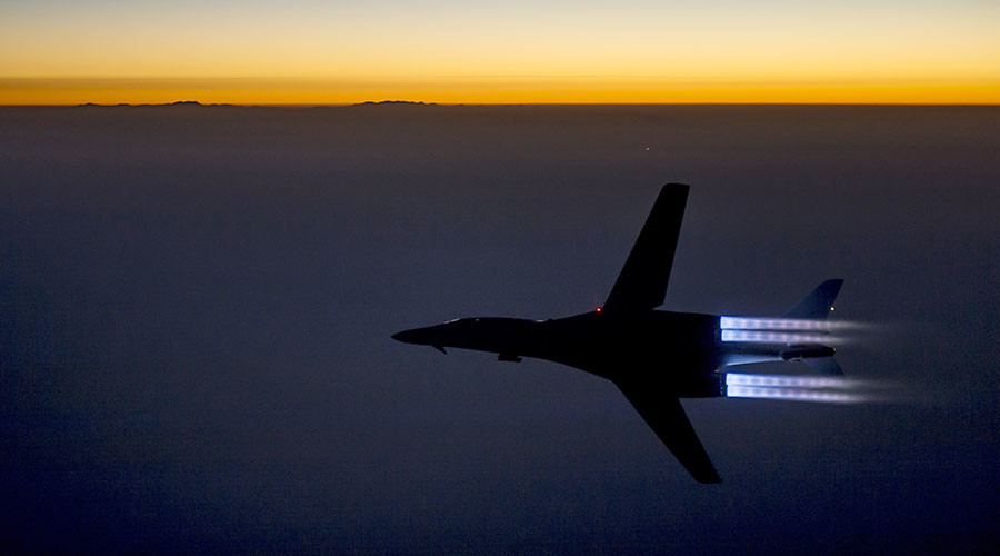 A U.S. Air Force B-1B Lancer supersonic bomber flies over northern Iraq after conducting air strikes in Syria
