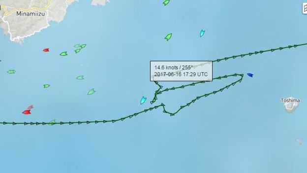 The ACX Crystal appeared to make a U-turn before the collision, before rapidly adjusting course and setting off to Tokyo