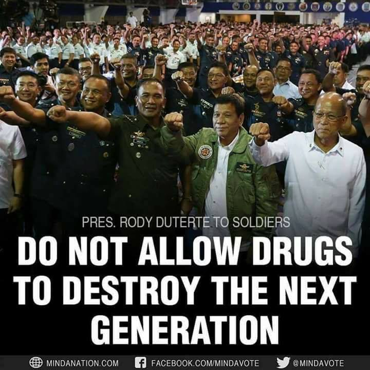 Duterte with the entire military hierarchy.
