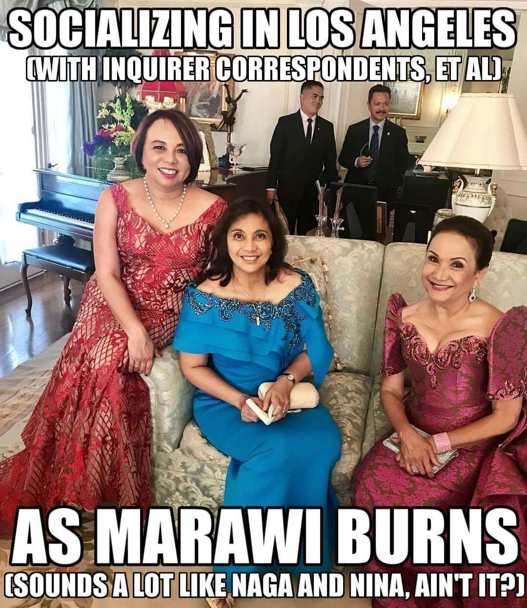 Leni Robredo was flunked by her sponsors while attending a fund raising party in LA, California, yesterday. Ticket costs #300 each.