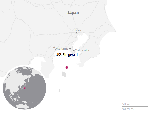USS Fitzgerald location map.
