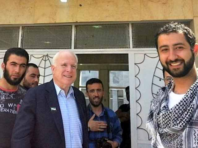 John McCain sneaks into Syria illegally in May 2013 to meet with known terrorists, promising them weapons and regime change by way US bombs would drop in the Fall of 2013.