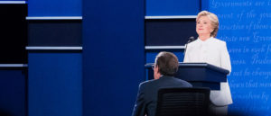Democratic presidential nominee Hillary Clinton at the third debate with Republican nominee Donald Trump. (Photo credit: hillaryclinton.com)