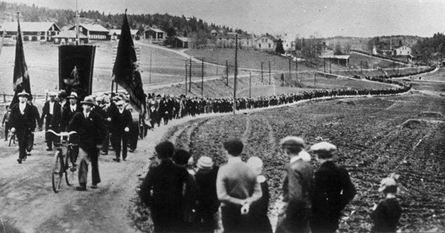 A march in Ådalen, Sweden, in 1931
