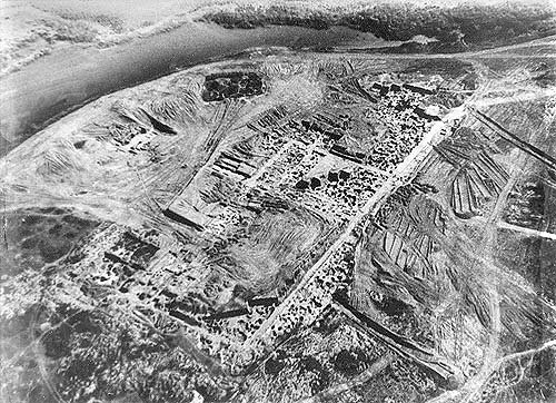 The site of the Khazar fortress at Sarkel, sacked by Sviatoslav c. 965 (aerial photo from excavations conducted by Mikhail Artamonov in the 1930s) (Courtesy of newworldencyclopedia.org)