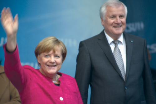German Chancellor Angela Merkel, of the Christian Democratic Union, with Horst Seehofer of the allied Christian Social Union, during the 2017 election campaign.