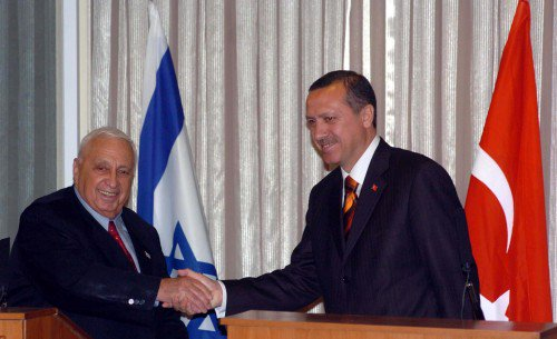 Image on the right: Sharon and Erdogan in 2004