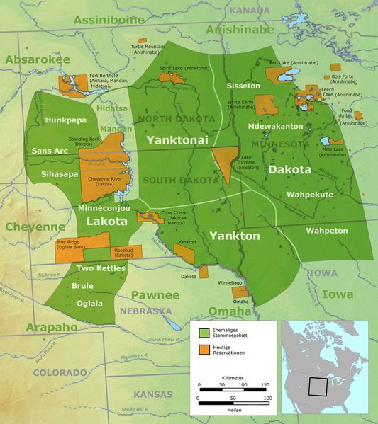 Tribal territory of the Great Sioux Nation.