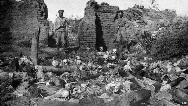Skulls in ruined Armenian village of Sheyxalan, 1915 (pic from Armenian Genocide Museum
