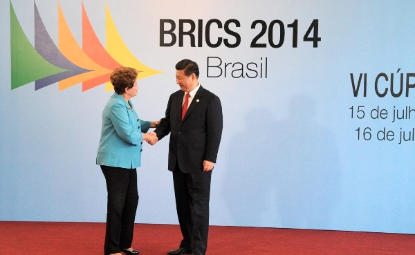 Brazilian President Dilma Rousseff with Chinese President Xi Jinping at the 6th BRICS Summit in Fortaleza, Brazil on 15 July 2014 [PPIO]