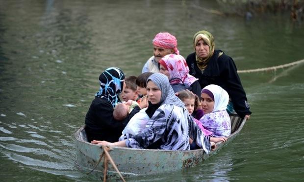 women and children war refugees