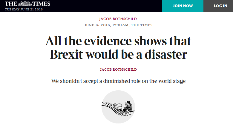 brexit disaster by jacob rothschild