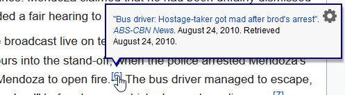 "Snapshot of Wikipedia's ""Manila hostage crisis"" article."