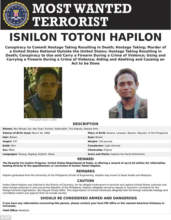 Isnilon Hapilon, the leader of Islamic State group's Southeast Asia branch, is on Washington's list of most-wanted terrorists and has a $5million bounty on his head