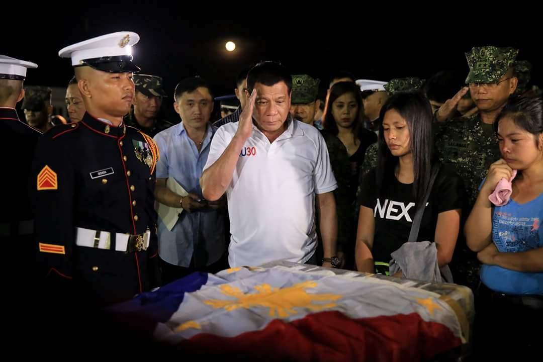 Duterte salutes the fallen heroes of Marawi.