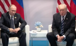 President Trump meeting with Russian President Vladimir Putin at G-20 summit in Hamburg, Germany, on July 7, 2017. (Screenshot from Whitehouse.gov)