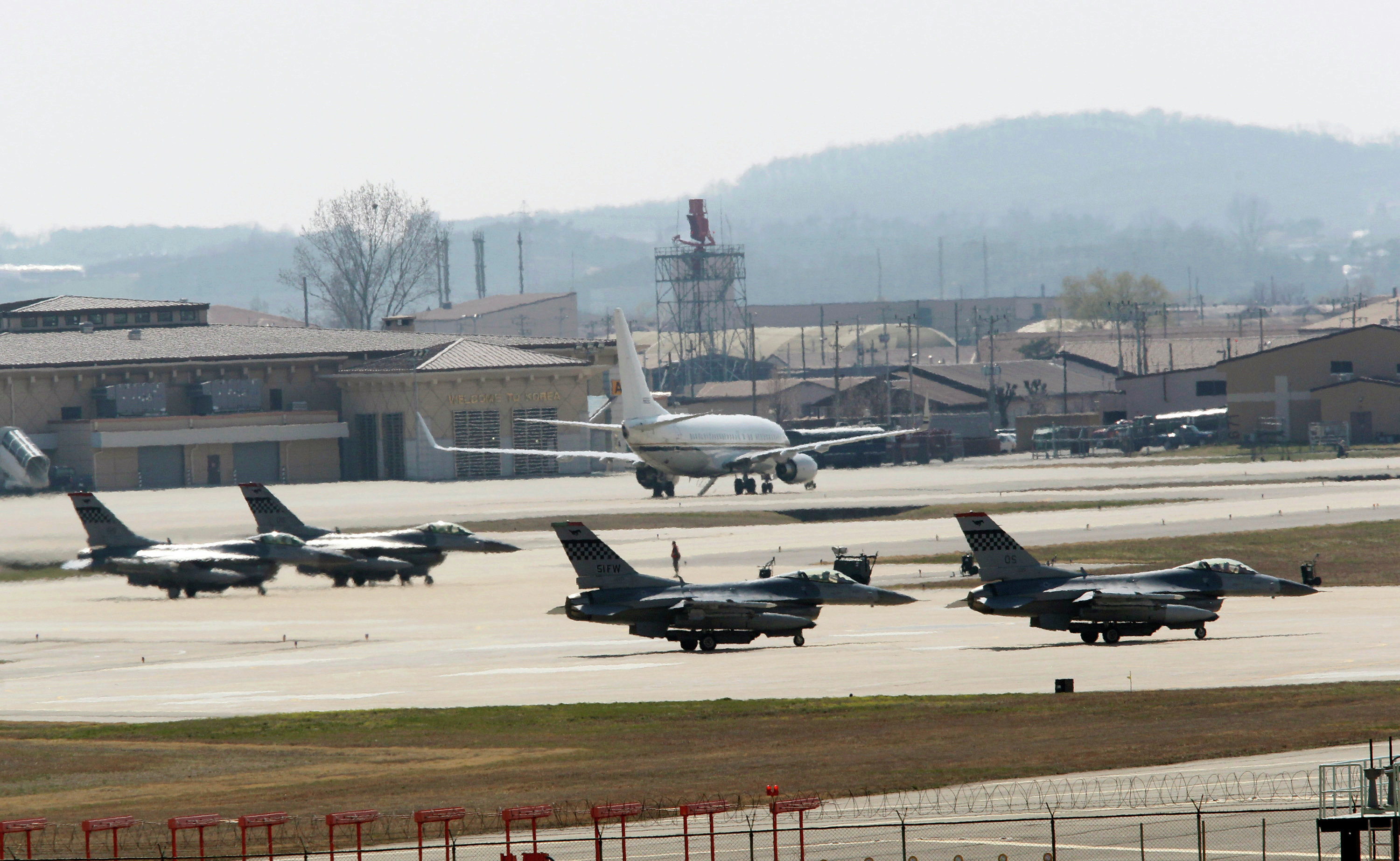 © AP Photo/ Ahn Young-joon U.S. Air Force F-16 fighter jets wait to take off from a runway during a military exercise at the Osan U.S. Air Base in Osan, South Korea