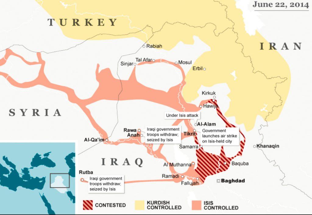 Iraq ISIS control map